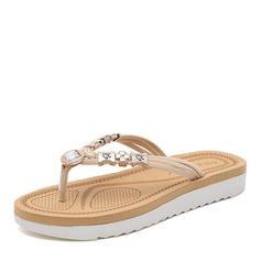 Women's Suede Flat Heel Sandals Flats Slingbacks Flip-Flops With Beading shoes