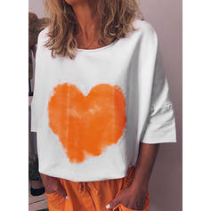 Print Round Neck 3/4 Sleeves Casual Knit T-shirt