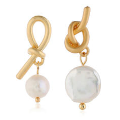 Bow Shaped Alloy Imitation Pearls Women's Earrings