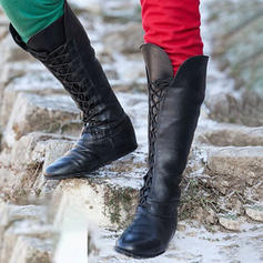 Femmes Similicuir Talon plat Chaussures plates Bottes avec Dentelle chaussures