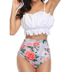 Květiny Vysoký pas Popruh Sexy Elegantní Bikiny Plavky