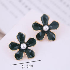 Flower Shaped Alloy Imitation Pearls Women's Earrings