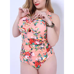 Splice color Halter Sexy Plus Size One-piece Swimsuits