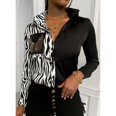 Print Color Block Lapel Long Sleeves Button Up Casual Shirt Blouses