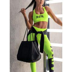 U-Neck Sleeveless Color Block Sports Leggings Sports Bras