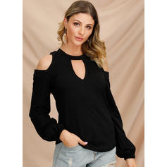 Solide Cold Shoulder Lange Mouwen Casual Pailletten Overhemd