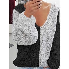 Bloque de Color Cuello en V Casuales Suéteres
