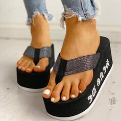 Women's Fabric Wedge Heel Sandals Peep Toe Flip-Flops Slippers With Others shoes