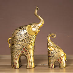 Modern Resin Elephant Figurines & Sculptures (Set of 2)