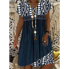 Floral Short Sleeves Shift Knee Length Casual Tunic Dresses