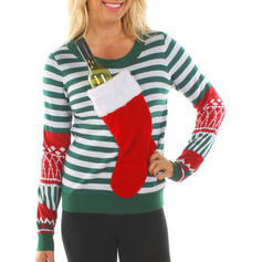 Kvinnor polyester Print Rand Ugly Christmas Sweater