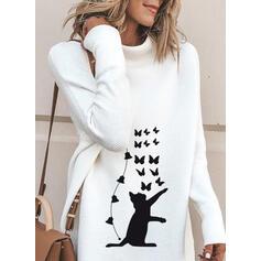 アニマルプリント タートルネック カジュアル ロング セータードレス
