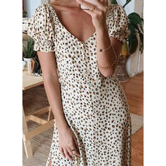 Leopard Short Sleeves/Puff Sleeves A-line Casual/Elegant Midi Dresses