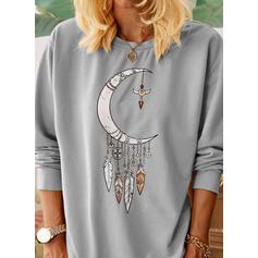 Nadruk Okrągły dekolt Długie rękawy Casual T-shirty
