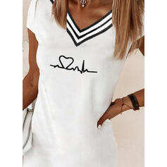Hjerte Trykk Stripe V-hals Kortermer T-skjorter