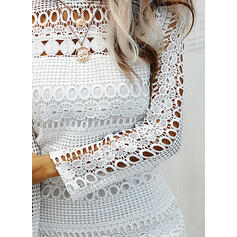 Lace/Solid Long Sleeves Sheath Knee Length Casual Dresses