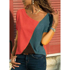 Color Block V-Neck Short Sleeves Casual Knit T-shirts