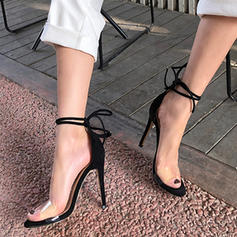 Women's PU Rubber Stiletto Heel Sandals Pumps With Bowknot Lace-up shoes