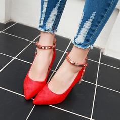 Donna Camoscio Tacco a spillo Stiletto con Strass Catenina scarpe