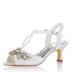 Women's Silk Like Satin Low Heel Peep Toe Sandals With Others