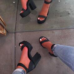 Femmes PU Talon bottier Sandales À bout ouvert avec Couleur unie chaussures