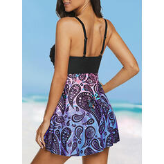 Print Strap V-Neck Fresh Plus Size Swimdresses Swimsuits