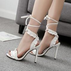 Femmes PU Talon stiletto Sandales Escarpins À bout ouvert avec Dentelle chaussures