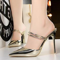 Női Lakkbőr Tűsarok Szandál Magassarkú Zárt lábujj Papucs cipő