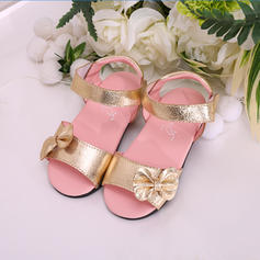 Girl's Leatherette Flat Heel Peep Toe Sandals Flats Flower Girl Shoes With Bowknot Velcro