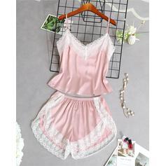V-Neck Sleeveless Solid Color Fashionable Elegant Cami & Short Sets