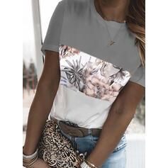 Color Block Blomster Print Rund hals Korte ærmer T-shirts