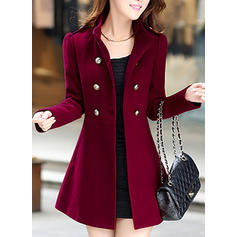 Polyester Spandex Long Sleeves Plain Woolen Coats