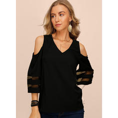 Solide Cold Shoulder 1/2 Mouwen Casual Pailletten Blouses