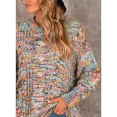 Cable-knit Tie Dye Round Neck Casual Sweaters