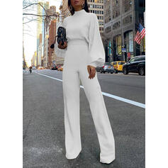 Solid Stand collar Long Sleeves Lantern Sleeve Casual Elegant Jumpsuit