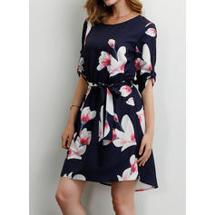 Print/Floral 1/2 Sleeves A-line Above Knee Casual/Party/Vacation Dresses