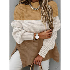 Color Block Stand Collar Casual Sweaters