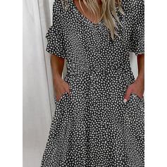 Print Short Sleeves/Flare Sleeves A-line Knee Length Casual Skater Dresses