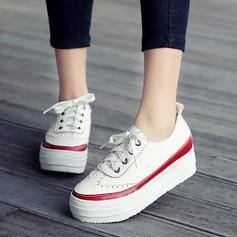 Dla kobiet Skóra ekologiczna Obcas Koturnowy Zakryte Palce Koturny Z Sznurowanie obuwie