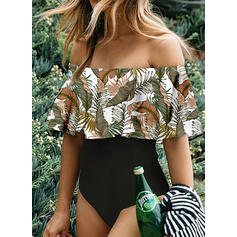 Floral Print Strapless Sexy Fresh One-piece Swimsuits