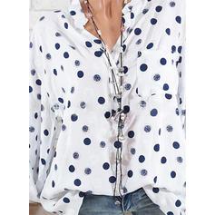 Πουά V-λαιμός Μακρυμάνικο Χωρίς Κουμπιά Κολάρου Καθημερινό Μπλούζες Πουκάμισα