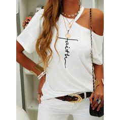 Print Figure One-Shoulder Short Sleeves Casual Blouses