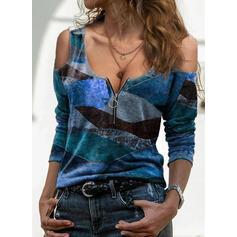 Εκτύπωση Ανοιχτός Ώμος Μακρυμάνικο Καθημερινό Блузи