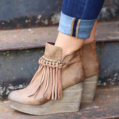 Women's PU Wedge Heel Ankle Boots With Zipper Tassel shoes
