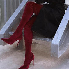 Women's Suede Stiletto Heel Over The Knee Boots With Zipper shoes