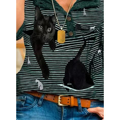 Animal Print Striped V-Neck Long Sleeves Button Up Casual Blouses
