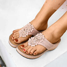 Women's Fabric Wedge Heel Sandals Flip-Flops Slippers With Flower shoes