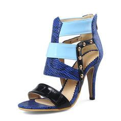 Femmes PU Talon stiletto Sandales Escarpins À bout ouvert avec Rivet Zip chaussures