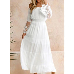 Lace/Solid Long Sleeves/Flare Sleeves A-line Skater Elegant Maxi Dresses