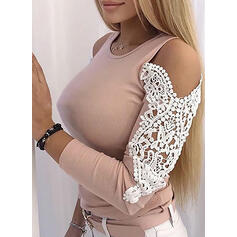 Solid Lace Cold Shoulder Long Sleeves Casual Knit Blouses